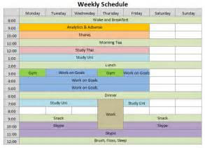 Microsoft Excel Weekly Schedule Template 9 Weekly Schedule Templates Excel Templates
