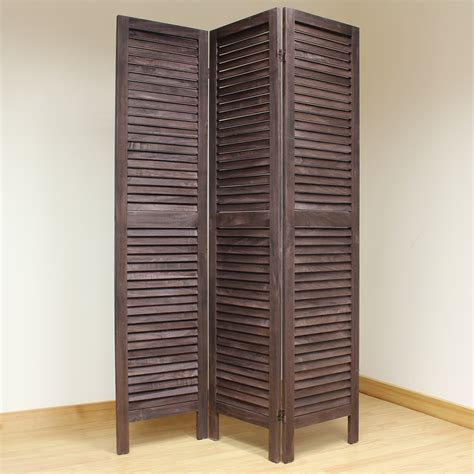 Brown 3 Panel Wooden Slat Room Divider Home Privacy Screen