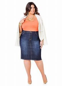 Plus Size Jean Skirts Sale   Bbg Clothing