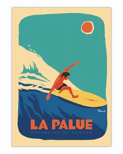 Poster Palue Surfeur Marcel Affiche Travel