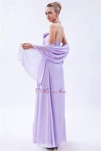 Elegant Flowers Decorate Empire Waist Lilac Chiffon Prom ...