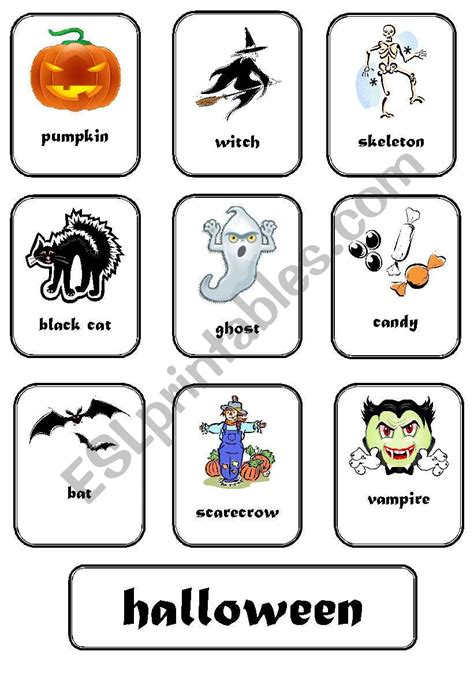 English Worksheets Halloween Flashcards