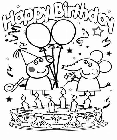 Peppa Pig Coloring Birthday Happy Printable Drawing