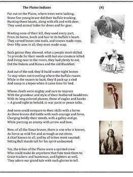 plains indians  poem worksheet  puzzle