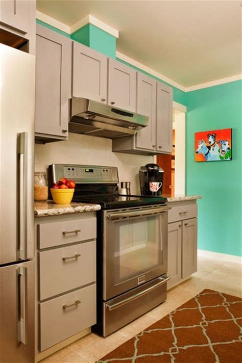 gray cabinets, aqua/turquoise walls   Kitchen Inspirations