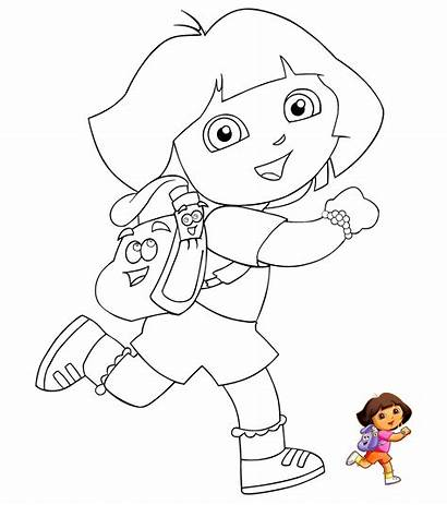 Dora Kartun Gambar Explorer Coloring Mewarnai Untuk
