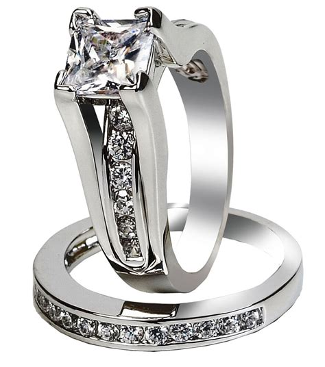 s stainless steel princess cut top cz wedding ring size 5 11 ebay