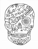 Coloring Skull Sugar Pages sketch template