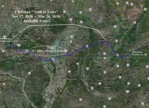 Cherokee Indians Trail of Tears Map