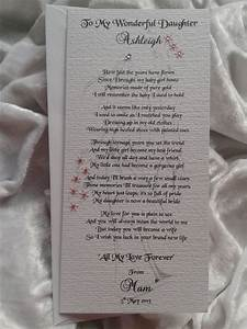 mother or parents of the bride to daughter personalised With wedding gift from mom to daughter