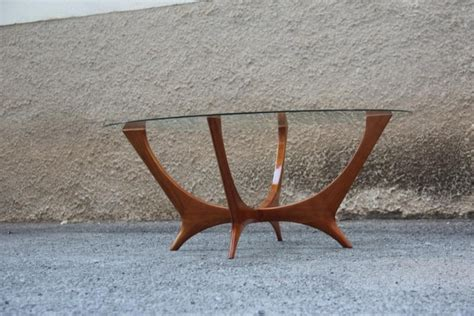 Triangle coffee table modern glass top with wood base, walnutby interior modern decor(107). Italian Coffee Table Round Cherry Wood Glass Top Mid-Century Modern 1950s For Sale at 1stdibs