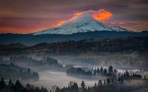 Snowy, Peak, Sunset, Mist, Oregon, Nature, Forest, Volcano