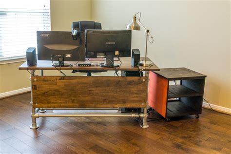 pipe computer desk wood paneled industrial pipe desk desk week