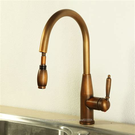 kitchen faucet discount luxury antique brass finish 16 quot single handle pull out