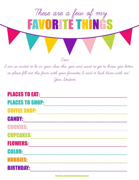 my favorite things list template the larson lingo back to school printable