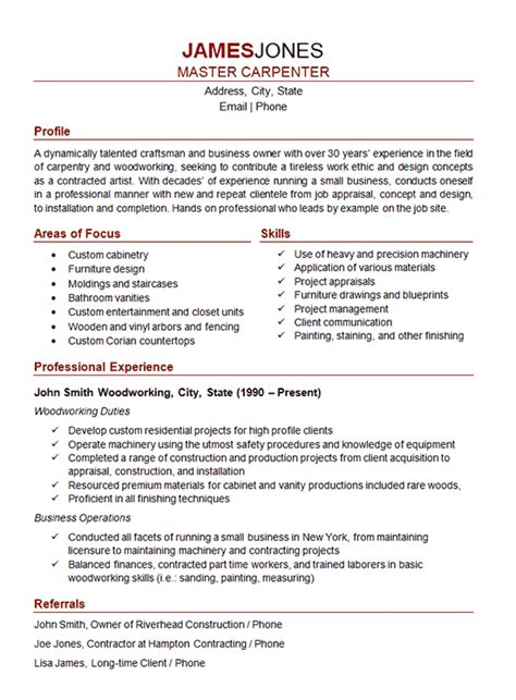 Construction Carpenter Resume Format by Resume Finish Carpenter