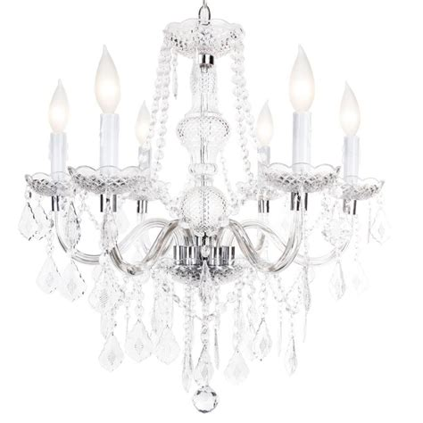 hton bay theresa 6 light chrome chandelier white
