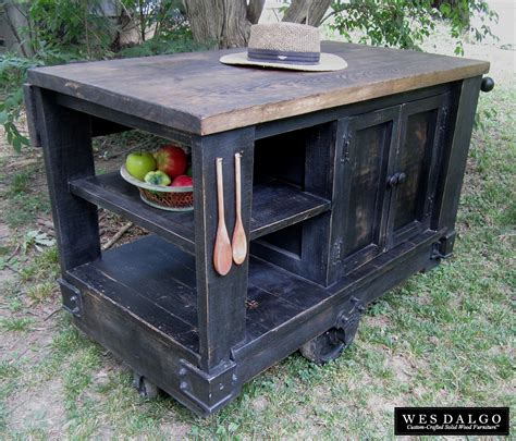 rustic kitchen islands and carts buy a custom distressed black modern rustic kitchen island 7843