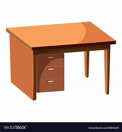 Desk Cartoon Computer Icon Furniture Fumetto Icona