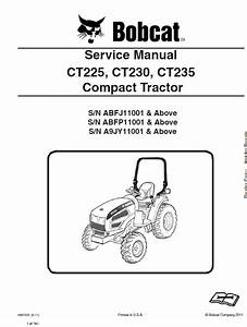 Bobcat Ct225  Ct230 And Ct235 Compact Tractor Service