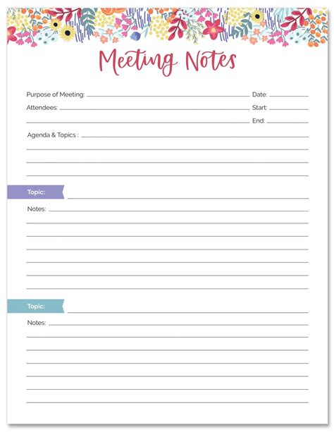 meeting notes planning pad    bloom daily planners