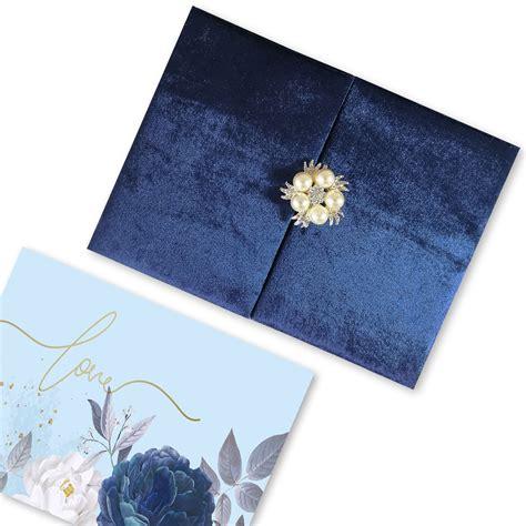 Navy Blue Folder For Wedding Invitation Cards