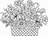 Coloring Basket Flower Flowers Drawing Colouring Printable Bouquet Clipart Embroidery Sketch Getdrawings Popular Getcolorings Patterns Visit Library sketch template