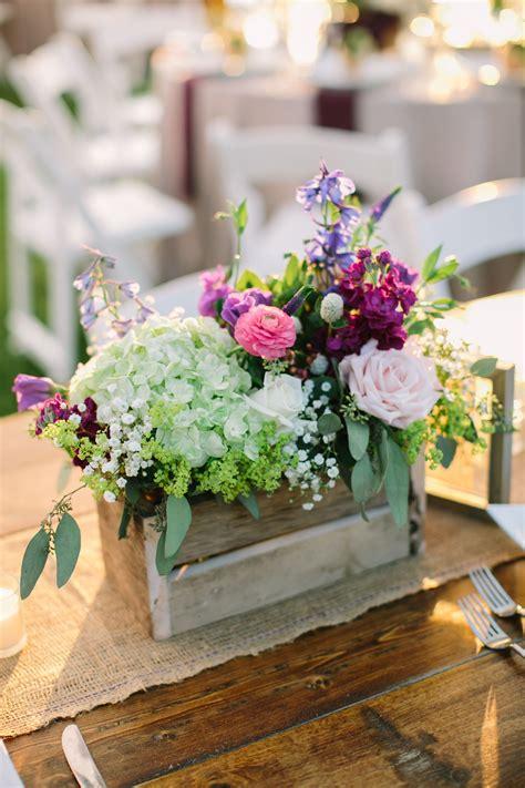 rustic hydrangeas  purple wildflower centerpieces