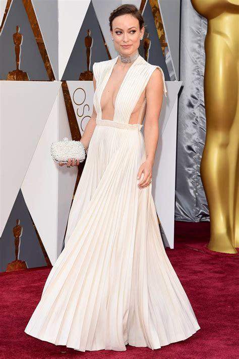 olivia wilde pleated white celebrity prom dress