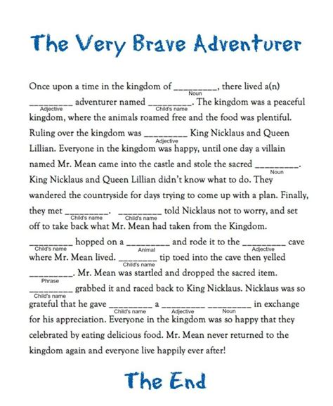 mad lib for create your own tale fabkids food for