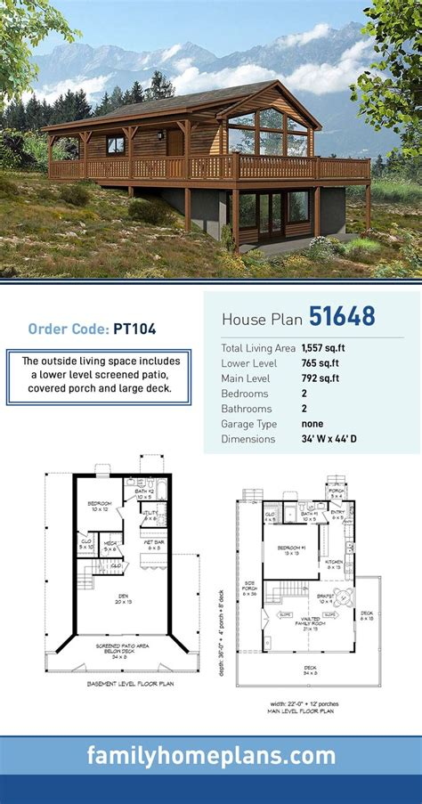Traditional Style House Plan 51648 with 2 Bed 2 Bath