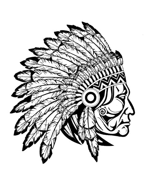 Free coloring page coloring-adult-indian-native-chief-profile. Profile view (drawing) of a great