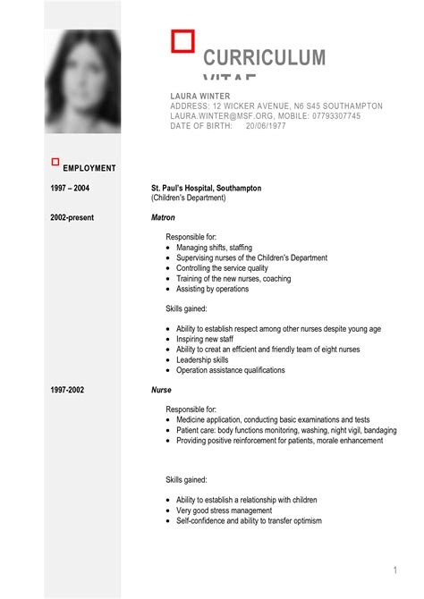 Curriculum Vitae Definition English Example Good Resume Template