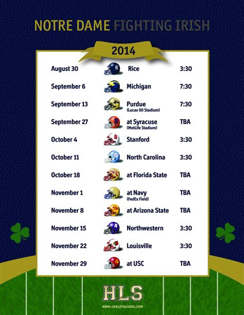notre dame football schedule  loyal sons