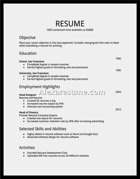 Resume Template For by Easy Resume Sles Resume Template Cover Letter