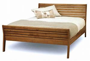 Black Wooden Bed Frame With Bars On The Head Board Also