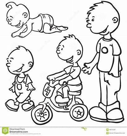 Growing Boy Cartoon Illustration Doodle