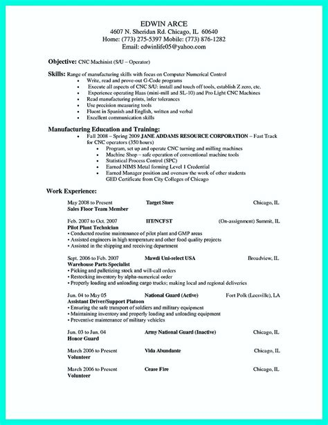 Cv For Machine Operator by Writing Your Qualifications In Cnc Machinist Resume