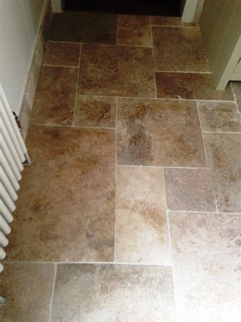 Kitchen Travertine Tiled floor cleaning in Mortlake   East