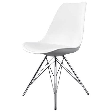 buy eiffel inspired white plastic dining chair  chrome