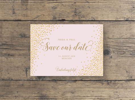 save  date postkarte gold veredelt hochzeitskarten