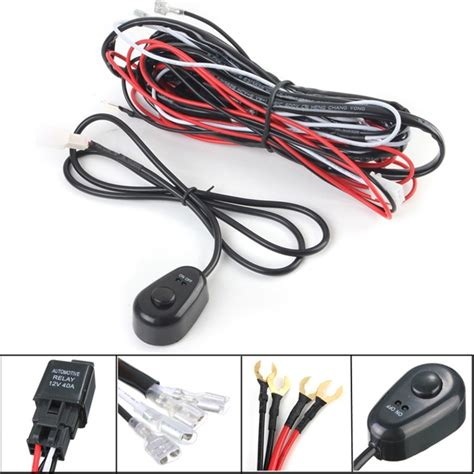 Led Work Fog Light Lamp Bar Wiring Harness Kit