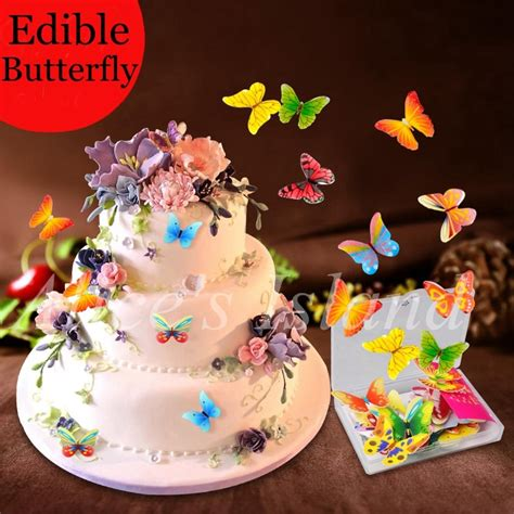edible baby shower cake decorations 34pcs 3d edible butterfly cake decoration wedding birthday