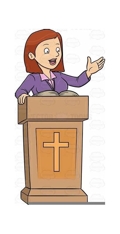 Clipart Preacher Pastor Female Clip Woman Cliparts