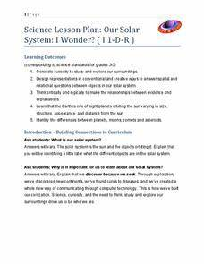 Science Lesson Plan: Our Solar System: I Wonder? 2nd - 4th ...