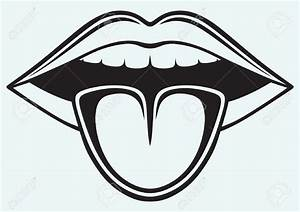 Mouth And Tongue Clipart Black And White | Letters