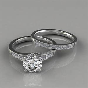 Graduated milgrain engagement ring and wedding band set for Ring and wedding band