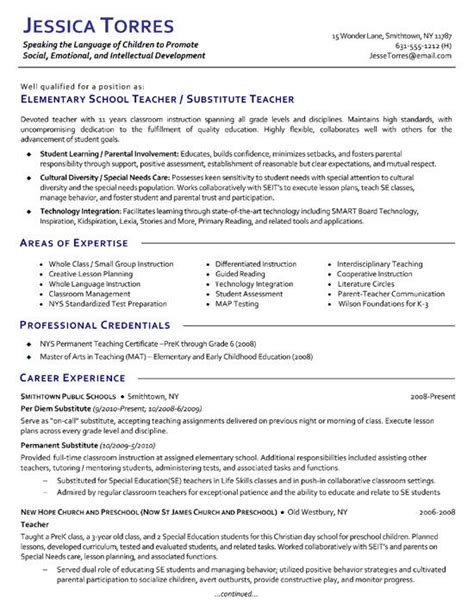 Exle Of Teaching Resume by Substitute Resume Exle Exles Teaching And Elementary