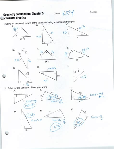 Geometry Special Right Triangles Worksheet Worksheets For All  Download And Share Worksheets