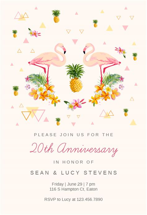 tropical flamingo anniversary invitation template